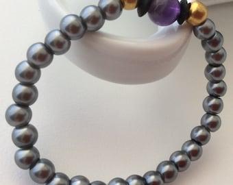 Grey Czech beads