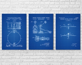 Drum Patent Collection of 3 - Patent Prints, Music Poster, Musical Instrument Patent, Drum Patent, Drummers, Drum Set, Drummer Gift