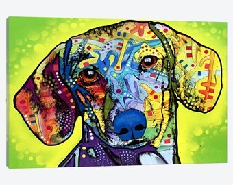Gallery Style Canvas Print of a Vibrant Colorful Dachshund Dog - Unique Colorful Pet Wall Decor - Beautiful Ready to Hang Artwork Wiener Dog
