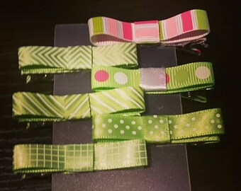 Girls/Toddler/Baby Hair Clips Set of 6 Green