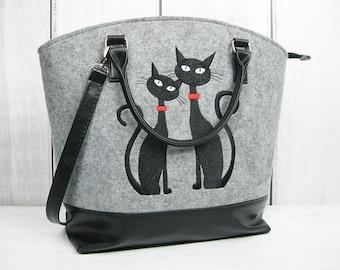 FELT BAG,  Felt Cat Bag,  Felt Tote,  Felt Crossbody,  Large Bag,  Market Bag,  Felt Tote,  Woman Felt Bag - Felt Tote Bag - Cat Lovers