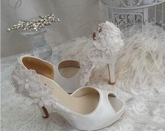 Handmade White Satin Bridal Shoe