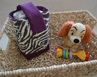 Clearance***  Zebra Stripe and Purple Diaper / Toy / Gift bag