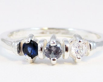 Sapphire, Aquamarine, and CZ Ring Sterling Silver
