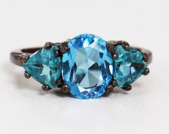 Oxidized Apatite and London Blue Topaz Ring Sterling Silver, December Birthstone Ring, Oxidized Sterling Ring, Oxidized Three Stone Ring