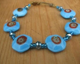 Bohemian Bracelet,   Lampwork Bracelet,    Blue Bracelet,    Beach Bracelet,   Gift For Her