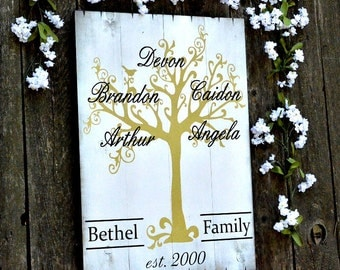 Custom Painted Family Tree Sign on Small Wood Pallet Gold White
