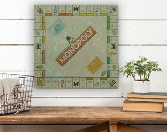 Monopoly Board on Canvas, Vintage Game Board, Vintage Decor, Game Board Canvas, Canvas Wall Decor, Canvas Art, Canvas Wall Hanging