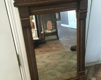Antique Early Mahogany Solid Wood Mirror 1800's