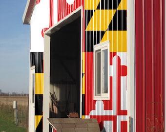 Maryland Flag Barn LAMINATED Cornhole Wrap Bag Toss Decal Baggo Skin Sticker Wraps