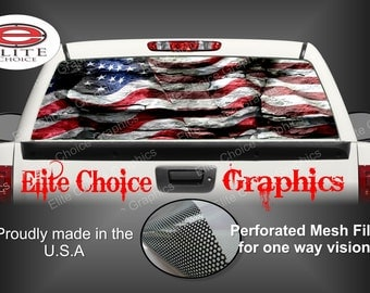 American Flag Rocks Rear Window Graphic Tint Decal Sticker Truck SUV Van Car