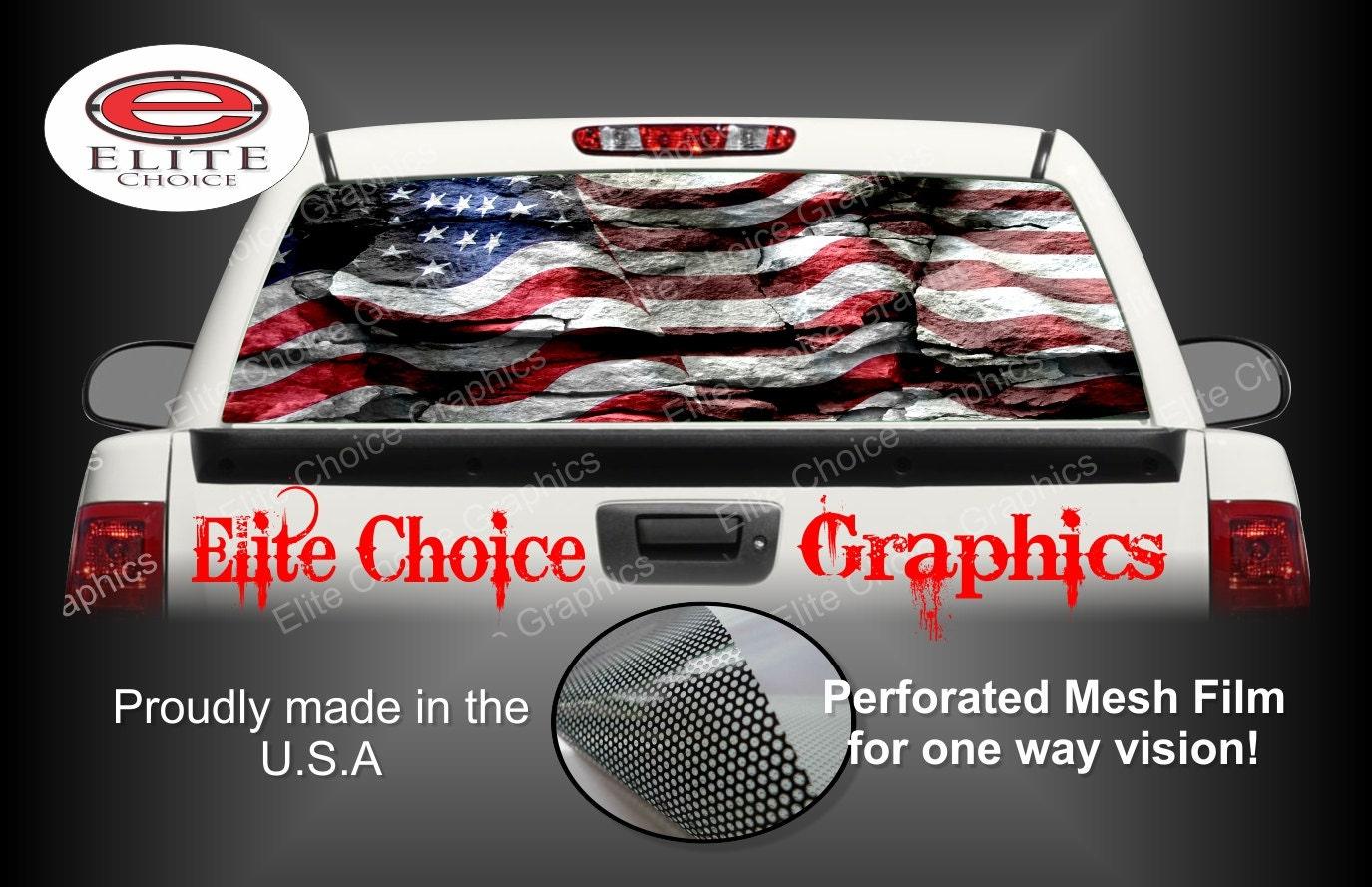 American flag rocks rear window graphic tint decal sticker truck suv van car