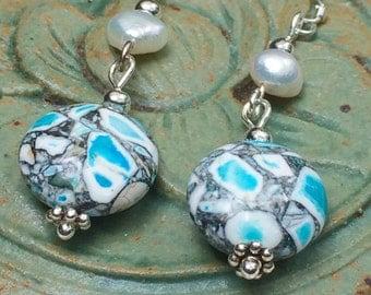 Gemstone and pearl earrings, dangle earrings, lightweight earrings