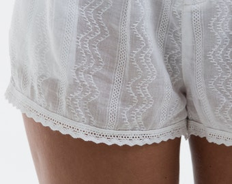 GLORIA shorts, 100% cotton embroidered, gift for women