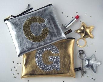 Metallic Gold Or Silver Glitter Initial Zip Purse