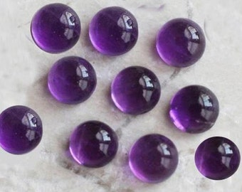 10 pic.natural purple Amethyst 6x6 mm round shape cabochon with free shipping