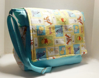Winnie the Pooh Messenger style diaper bag, Pooh Diaper Bag, Winnie Baby Bag, Winnie the Pooh Nursery, Winnie the Pooh Shower gifts, Pooh