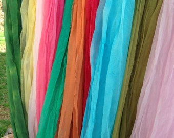 Extra Long Extra Wide Vibrant and Beautiful You Choose Hand Dyed Silk Gauze Scarves for Nuno Felting