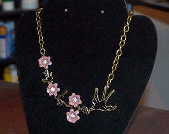 Bronze chain necklace with lavender flowers and black birds