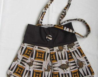 African wax fabric handbag