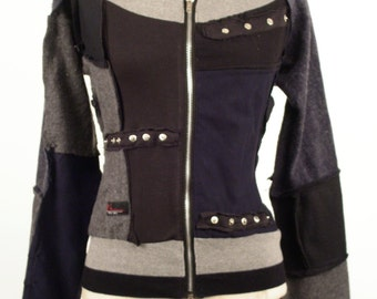 Our Handmade Knitwear Zip Front Jacket in our Dark Colorway