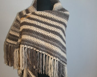 shawl cream/Brown striped