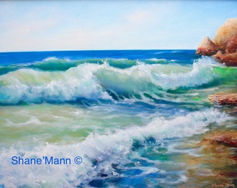Seascape painting as Giclee or print of the Ocean  as Beach Decor titled 'West Side Santa Cruz'