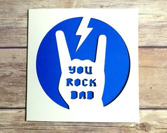 Father's Day Card, You Rock Dad, Fab Dad, Papercut Card, Happy Fathers Day, Alternative Card, Fathers Day Gift, Cool Dad, ACDC