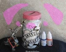 Tattoo Fund Money - Mason Jar - Piggy Bank - Mason Jar Piggy Bank - Heart Piggy Bank - Tattoo Vintage Heart Mason Jar - Tattoos - Tattooed
