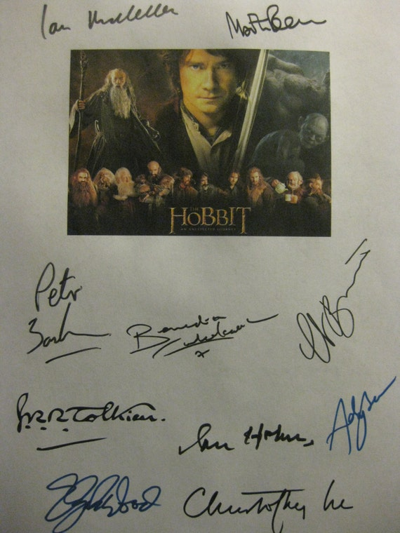 The Hobbit An Unexpected Journey Signed Script Screenplay Autograph X10 Ian McKellen Martin Freeman Peter Jackson Elijah Wood Cate Blanchett