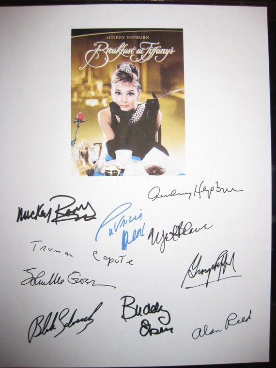 Breakfast at Tiffany's Signed Movie Film Script X10 Autographs Audrey Hepburn Mickey Rooney George Peppard Patricia Neal Buddy Ebsen Reed