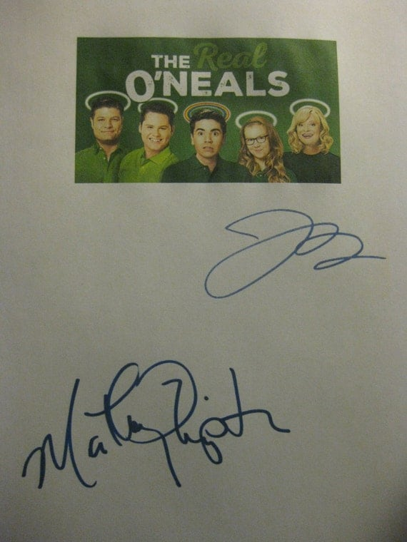The Real O'Neals Signed TV Script Screenplay Autographs Martha Plimpton Jay R. Ferguson reprint comedy signatures