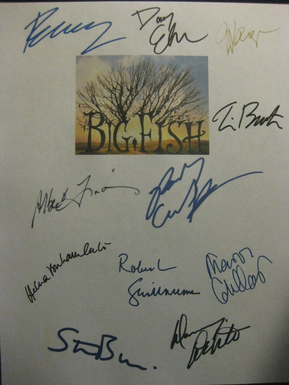 Big Fish Signed Film Movie Screenplay Script X11 Autograph Tim Burton Danny Elfman Jessica Lange Ewan McGregor Albert Finney Billy Crudup
