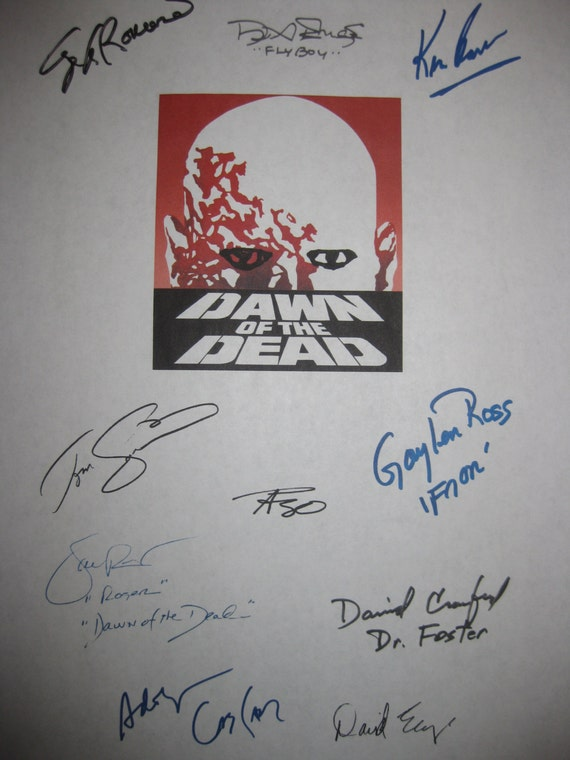 Dawn of the Dead 1978 Signed Film Movie Screenplay Script X10 Autograph George A. Romero Ken Foree David Emge Taso N. Stavrakis Tom Savini
