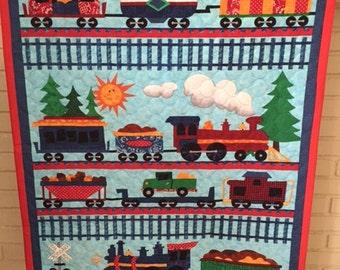 Trains baby blanket
