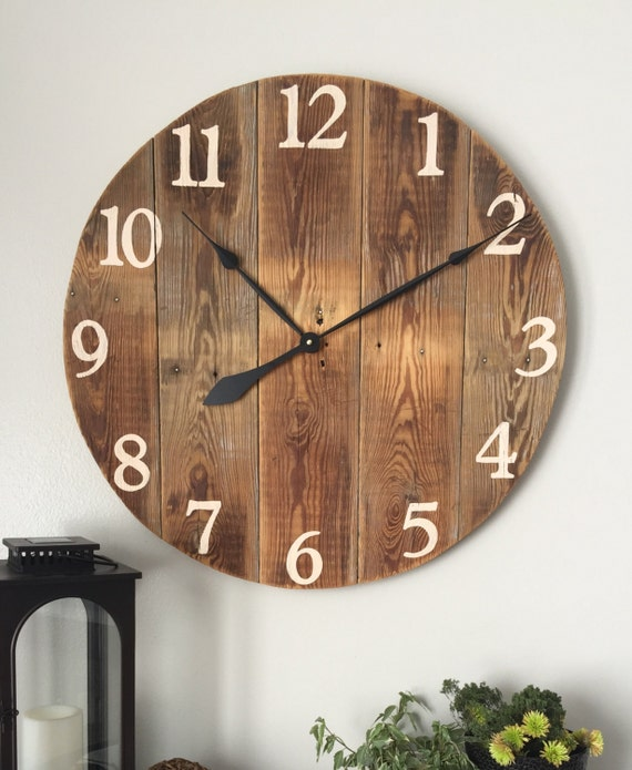 Natural Wooden Wall Clock Rustic Wall By Woodlanecreationsllc
