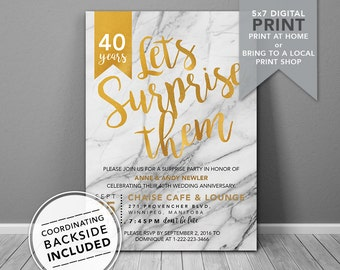 Surprise Birthday Invitation | Printable Invitation |  Gold Anniversary Invitation | Surprise Anniversary Invitation