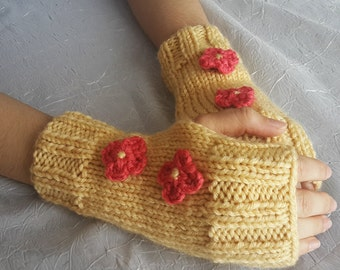 Knit Fingerless Gloves - Mustard Yellow Mittens for Ladies
