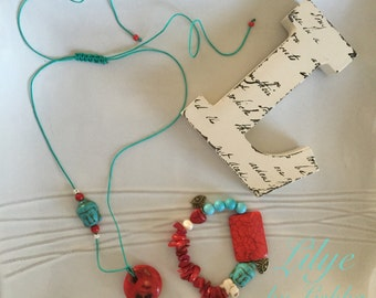 Turquoise and red Buddha necklace and bracelet set