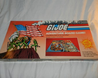 vintage Hasbro boardgame - G. I. Joe a Real American Hero Adventure Board Game - copyright 1982 - A sensational Game of Fun and Action  G-13