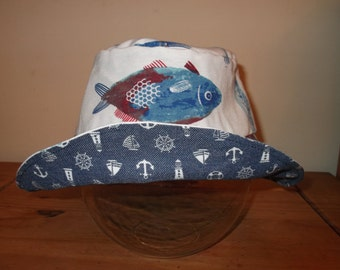 Reversible Sun Hat - Nautical - Age 6 to 8