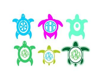 Turtle  svg turtle monogram svg - turtle files Cutting Template SVG EPS Silhouette DIY Cricut Vector Instant Download