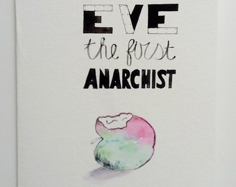 Feminist Anarchist Gift Card Art by PrettyPolitical. Watercolour Illustration Giclee Print, Contemporary Feminism, Fun, Fine Art