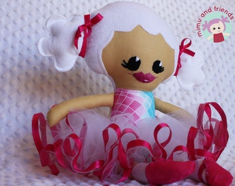 Hand made Cloth  Doll, Fabric Doll, White Hair, Rag Doll, Hand embroidered Doll, Dress up Doll, Soft Body Doll, Child safe, Child Friendly