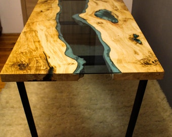 SOLD Live edge river table with with blue epoxy SOLD