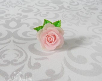 Rose ring, flower jewelry, flower ring, handmade flowers, beautiful jewelry, rose jewelry, clay rose, handmade rose.
