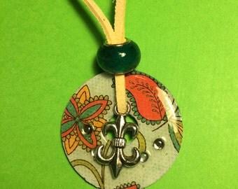 Fluer de lis paisley necklace