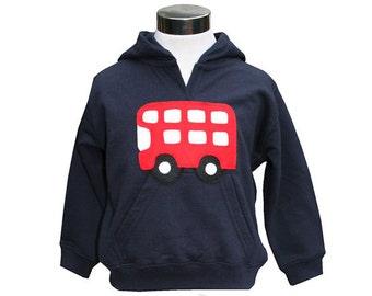 Childrens Bus Hoodie, Custom Made, Fair Trade, Hooded, Sweater, Sweatshirt, Hoodie, Kid, Girl, Boy, London, Double Decker, Bus, Applique