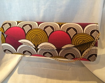 Pink African Print Clutch Bag/ Pochette Africaine