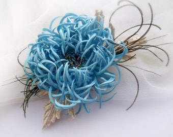 Chrysanthemum fabric, Chrysanthemum Handmade, Blue flower, Hair clip, flower fantasy,Hair flower,Hair Care